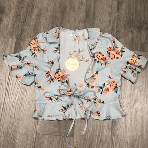 Floral Ruffle Tie Front Crop Top